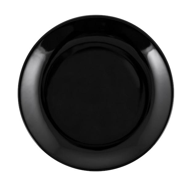 空の黒いプレートを白で隔離されます。