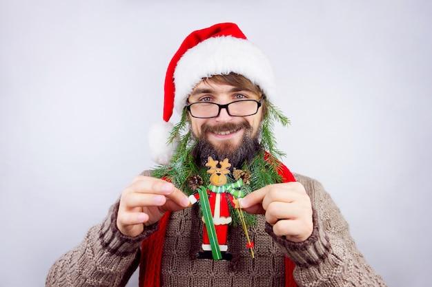 サンタの装飾されたひげ