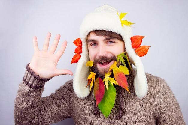 秋の装飾ひげ