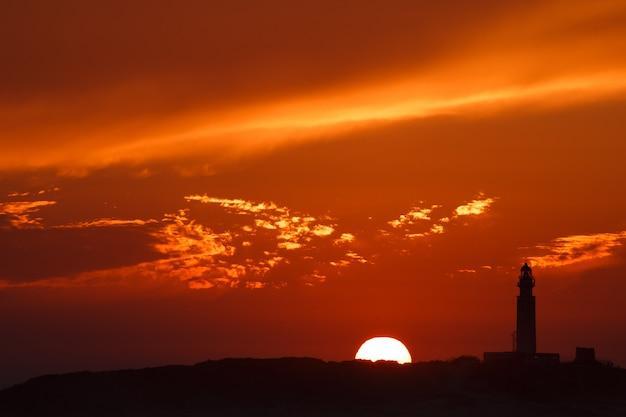 スカイラインに太陽とカラフルな夕日と灯台