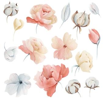水彩冬のピンクの花