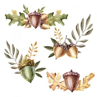 秋の水彩画の葉コレクションと花の組成