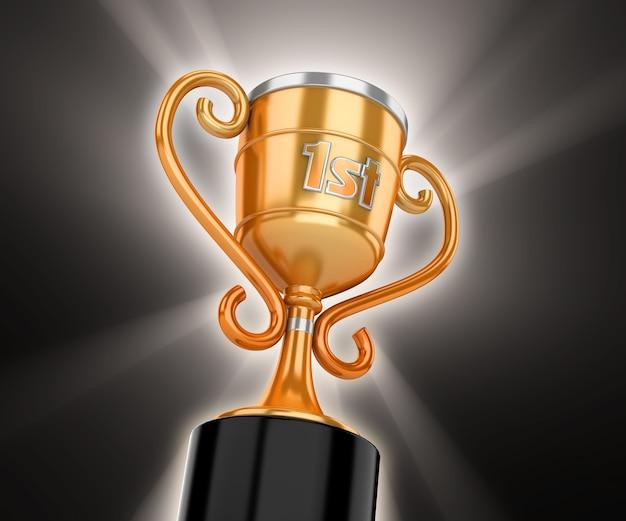 Золотой кубок победителя с объемным светом на черном фоне