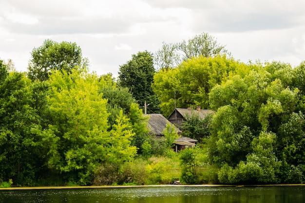 木々の後ろに家がある湖の岸