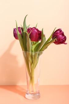 明るい花瓶のチューリップ、日光からの朝の影。グリーティングカードのコンセプトアート。