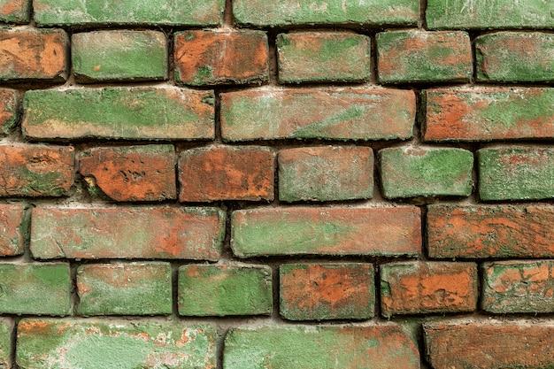 古い緑のレンガの壁
