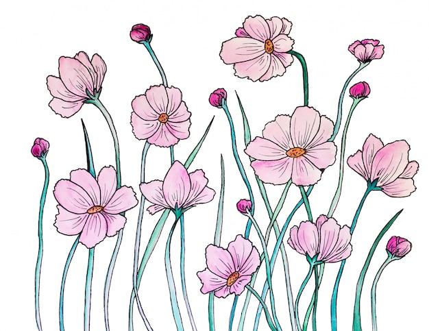水彩で描かれた花。