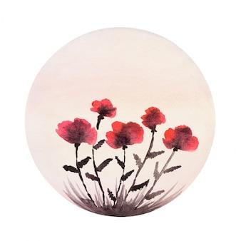水彩で描かれたケシの花。ラウンド構成。