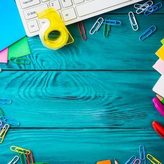 文房具カラフルな学校職場フレーム