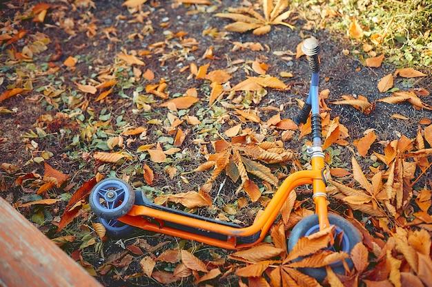 子供用スクーターは黄色の葉の遊び場にあります