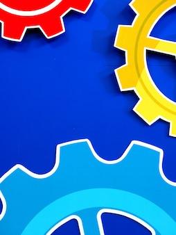 Большие зубчатые колеса двигателя зубчатые колеса синий фон, промышленный фон
