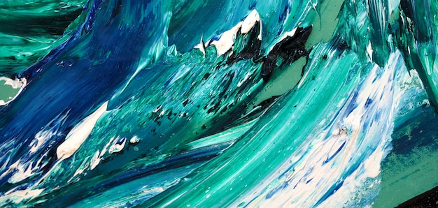 海の波。カラフルなテクスチャの絵画。抽象的な背景の明るい色の芸術的なしぶき。