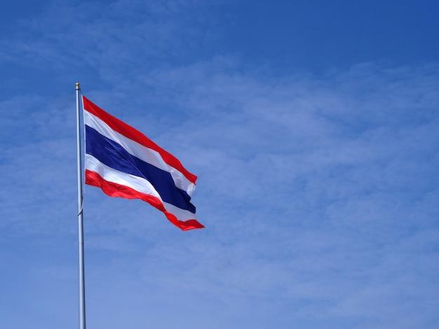 国旗の青い空を背景。
