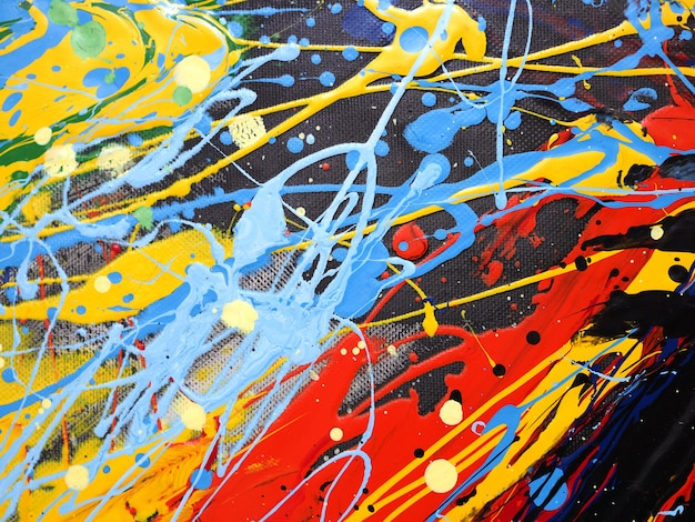 油絵の具カラフルなスプラッシュドロップ甘い色の抽象的な背景とテクスチャ。