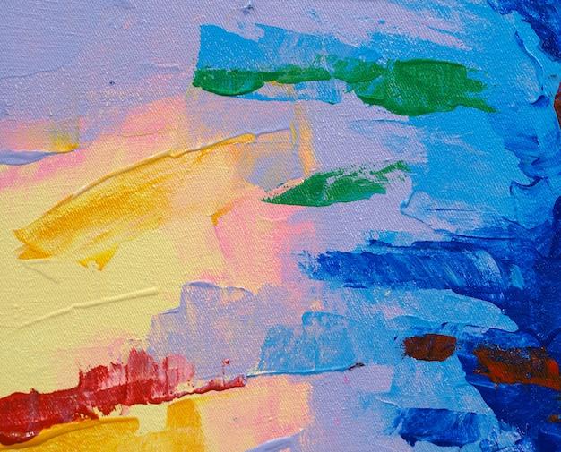 カラフルな甘い色の抽象的な背景の油絵の具。