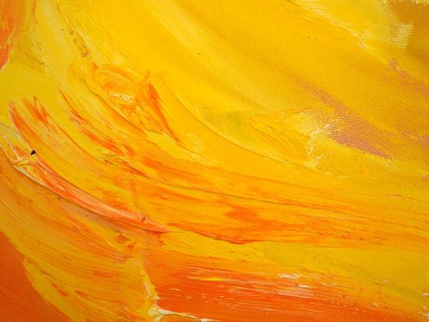 黄色い油絵の具テクスチャ抽象的な背景。