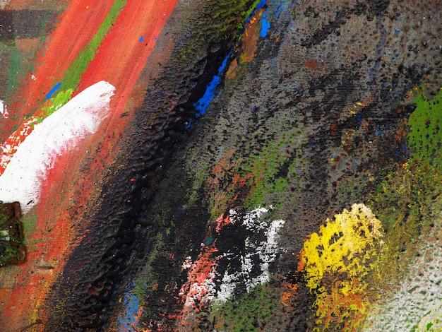 手は、カラフルなテクスチャ油絵の抽象的な背景を描きます。
