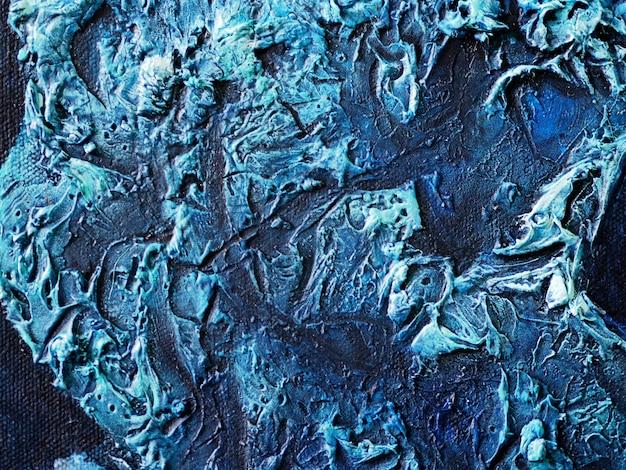 青い暗い油絵スペースとテクスチャの抽象的な背景。