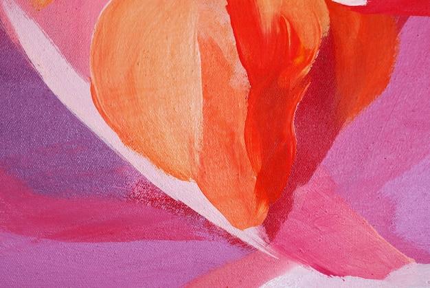 手描きの赤い油絵ブラシストロークの抽象的な背景とテクスチャー。