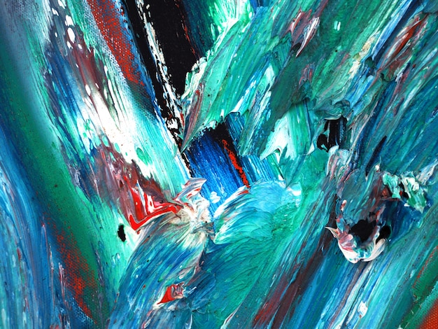 オイルグリーン塗装の抽象的な背景とキャンバス上のテクスチャ