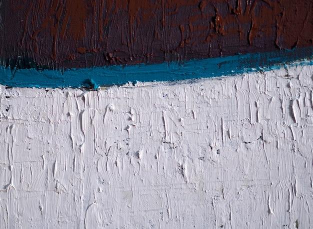 手描きの油絵の青と白の抽象的な背景とテクスチャー。
