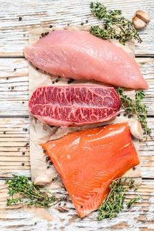 ハーブと木製のテーブルでステーキの種類。ビーフトップブレード、サーモンフィレ、七面鳥の胸肉。白の有機魚、鶏肉、牛肉。上面図