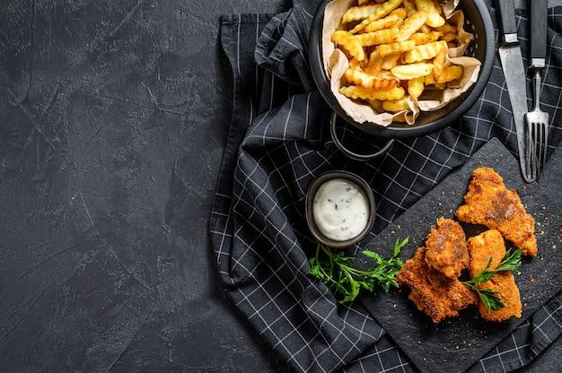 フィッシュアンドチップス、伝統的な英国料理。