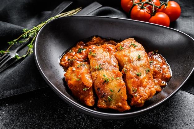 オヒョウの魚のトマトソース焼き