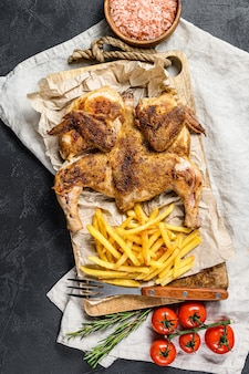鶏肉をポテトで焼いたもの。上面図