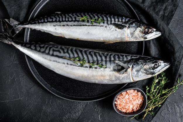 Скумбрия рыба с тимьяном и розовой солью. свежие морепродукты. вид сверху