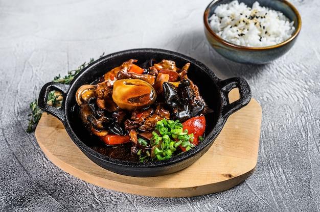 牛肉の照り焼きソースとご飯。白色の背景。上面図