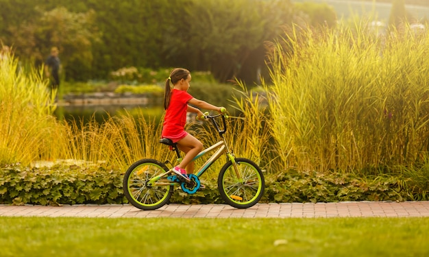 自転車に乗る子供。日当たりの良い公園で自転車を子供します。