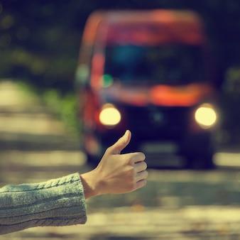 女の子が車で旅行する
