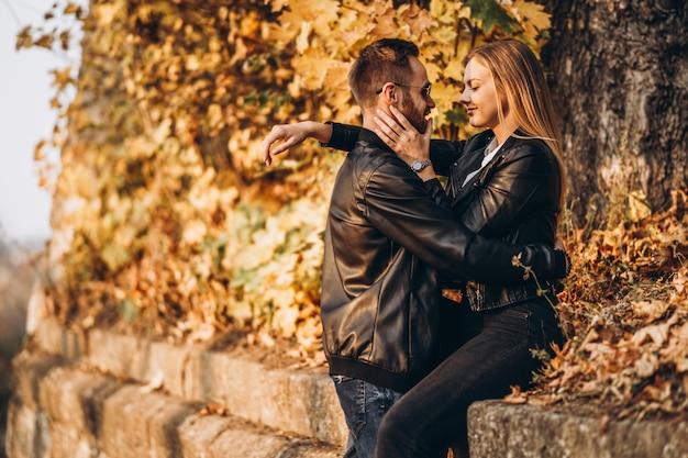 秋の公園を歩いて若い夫婦の日当たりの良い肖像画。