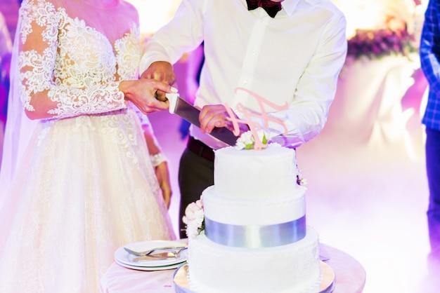 パーティーでのウエディングケーキとの結婚式のカップル