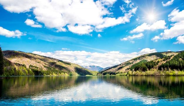 Горное озеро в летнее время, панорама
