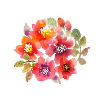 水彩花のイラスト。手描きのピンクと赤の夏の花