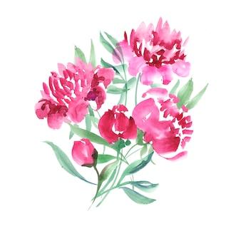手作りのペンキは優雅な装飾的な花を描いた。ピンクの牡丹の花の水彩イラスト。