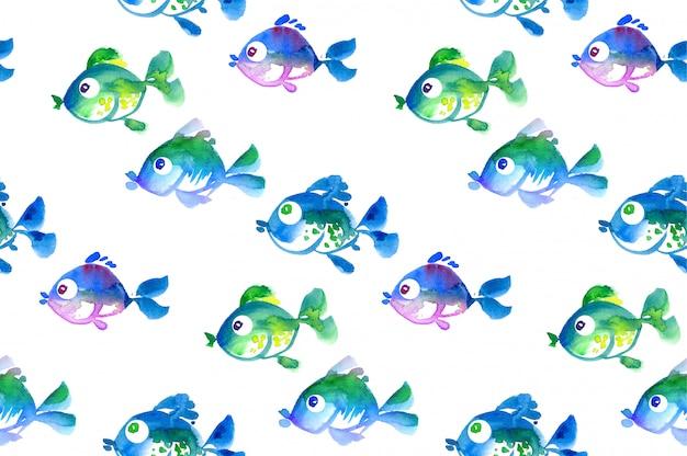 かわいい熱帯魚のシームレスパターン。水彩の手描きイラスト