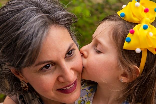 娘が母親の頬にキスをする