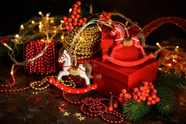 クリスマスの休日の背景。