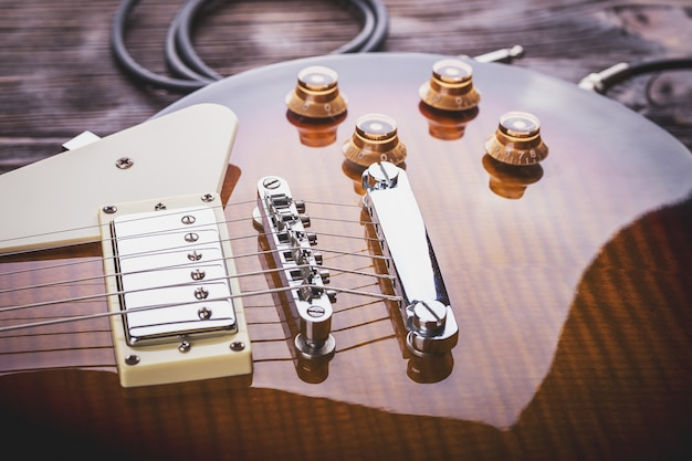 音楽ギターのクローズアップ