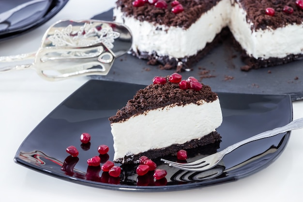 Кусок вкусного ванильного шоколадного чизкейка.