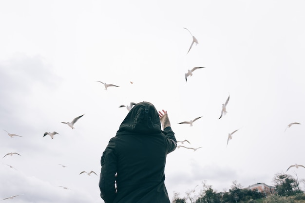 フード付きのジャケットを着た女性が空、後ろからの眺めでカモメに餌をやる