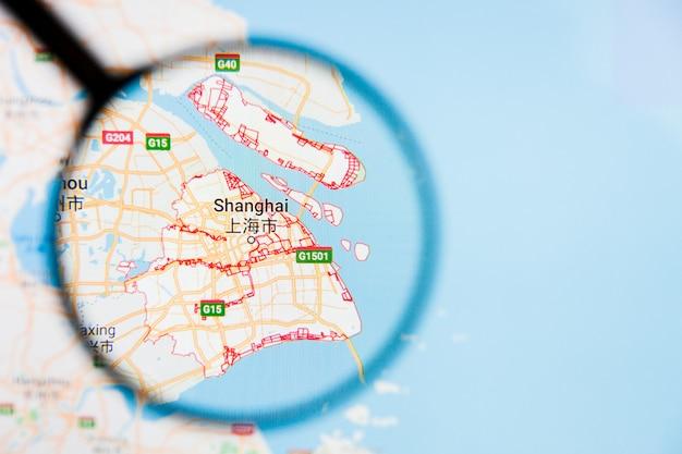 中国地図上の虫眼鏡