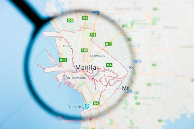 フィリピン地図上の虫眼鏡