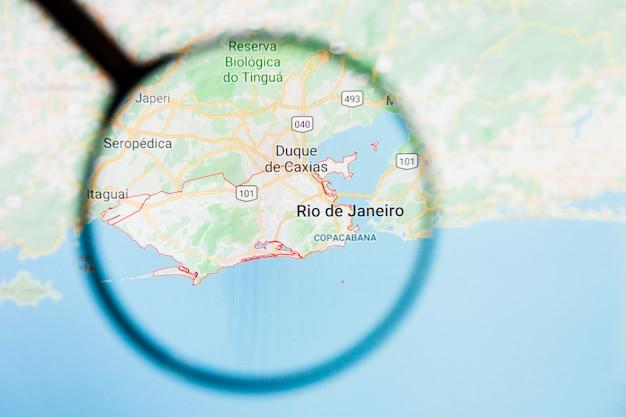 ブラジル地図上の虫眼鏡