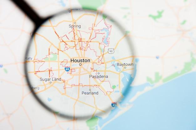 アメリカ合衆国地図上の虫眼鏡