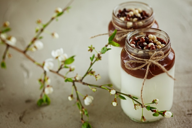 Домашний йогурт с шоколадным муссом и шоколадными конфетами с весенней ветвью.