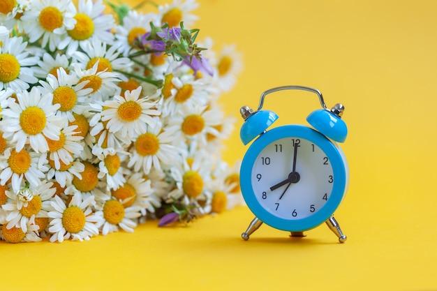 花束カモミールと黄色の背景に青い目覚まし時計。